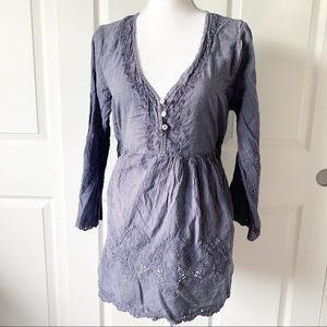 Noelle Purple/Grey Long Sleeve Embroider Tunic Top